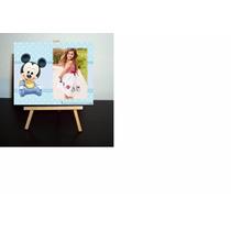 Atril,cuadritos Con Foto Bautismo 1° Año,mickey Y Minnie