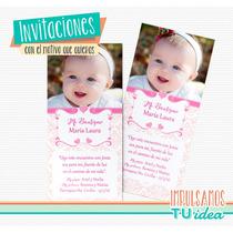 Estampita Bautismo Nena - Con Corazones Para Imprimir