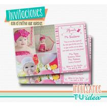 Estampita Bautismo Nena - Con Fotos Y Corazón Para Imprimir