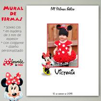Foto Mural De Firmas 40x50 Cm En Madera - Minnie Roja O Rosa