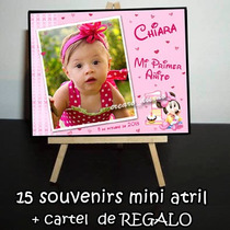 Minnie Bebe 15 Mini Atril Souvenirs + Atril Cartel De Regalo
