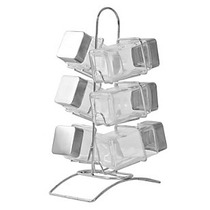 Set X 6 Especieros Rack Acero Inoxidabl Vidrio Con Exhibidor