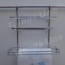 Porta Rollo Triple Papel, Film, Aluminio Cromado Para Barral