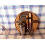 Plato De Algarrobo 24,tabla+accesorios Tenedor,cuchillo,vaso