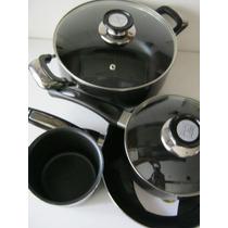 Juego Bateria De Cocina Teflón Negro Hudson Valley 6 Piezas