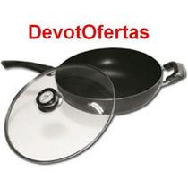 Wok 32cm Paellera Teflon Antiadherente Tapa Vidrio Mango Asa