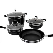 Batería De Cocina 7 Piezas Negro Grande