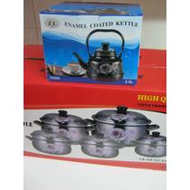 Set Juego 5 Cacerolas Enlozada Asas Negra Flor Pava 2,5 L
