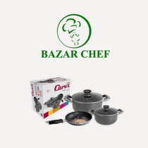Bateria Cocina 3 Piezas + 2 Tapas - Bazar Chef