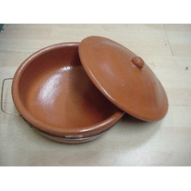 Cacerola De Barro 32 X14 C/ Tapa Y Canasto P/ Fuego Y Horno