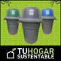 Cesto Tacho Container Reciclaje Con 3 Divisiones De Basura