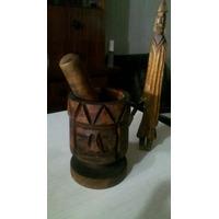 Mortero De Madera Tallada Rostro De Indio (quebracho)