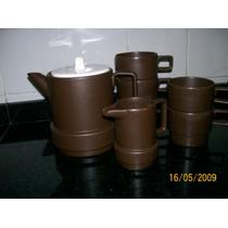Tetera (o Cafetera), Lechera Y 5 Pocillos - Lote.