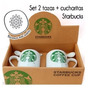 Set De 2 Tazas Starbucks Porcelana Con Cucharitas! Hermosas!