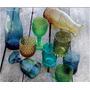 Copas Vidrio Prensado Labradas Colores 6 Unidades