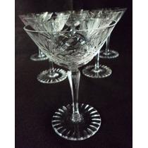 Antiguo Juego De 6 Copas De Champagne Talladas A Mano (369f)