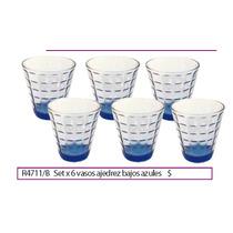 Set X 6 Vasos Ajedrez Bajos Azules