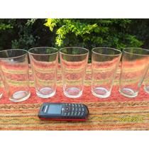Lote De 6 Antiguos Vasos De Bar Almacen Boliche De 250cm3