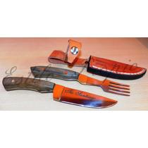 Cuchillo Y Tenedor Con Vaina De Cuero Personalizado