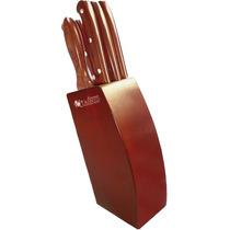 Set 6 Cuchillos Profesionales Cocina Gastronomía Trento Cepo