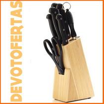 Set 8 Piezas 4 Cuchillos Tenedor Afilador Tijera Y Taco