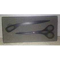 Set Cortapapeles Y Tijera Stainless Steel Negro Ideal Regalo