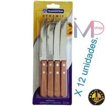 Set 12 Cuchillos O Tenedor Tramontina Dynamic Mango Madera