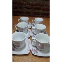 Juego De 6 Tazas De Cafe Con Platos De Ceramica Fina