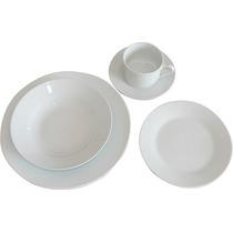 Juego De Vajilla De Porcelana X 20 Piezas Blanco Liso