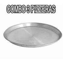 Promo 3 Moldes Pizza Pizzeras Profesional Aluminio N28 Stock