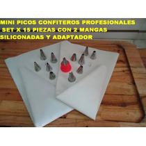 2 Mangas Siliconadas + 12 Picos Mini + Adaptador Pasteleria