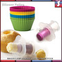 24 Pirotines Silicona Cupcakes Sacabocados Calador Muffins