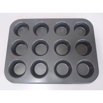 Molde 12 Muffins Cupcakes Teflonado + 50 Pirotines Numero10