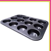Molde De Teflon X12 Cupcakes Muffins Teflonado Alta Calidad