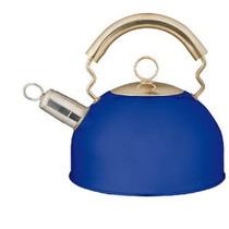 Pava Silbadora Azul Muy Linda 2.5 Lts Acero Inoxidable