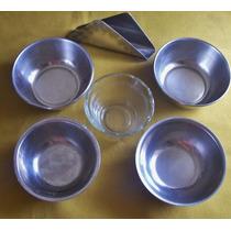 Lote 5 Bowls Acero Inoxidable Vidrio- Finger Food Oferta