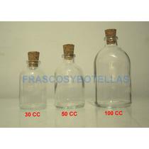 Frascos-botellas De Vidrio 100 Cc Con Corcho X 30 Unidades