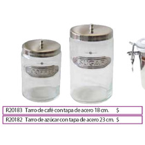 Tarro De Azucar Con Tapa De Acero 23 Cm.