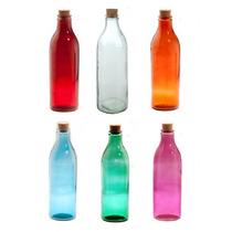Botella Para De Vidrio De Colores Retro C/ Tapón De Corcho