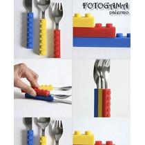 Set De 3 Cubiertos Bloques Lego Para Bebes Y Niños