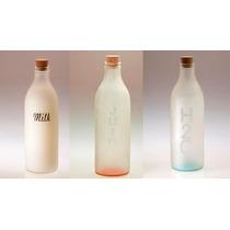 Botella Vidrio Para Jugo, Agua, Leche Esmerilada X3