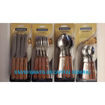 Tramontina Madera 6 Cuchillo 6 Tenedores 6 Cuchara 6 Cuchari