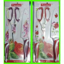 Set X 2 Cuchillos + Tijeta De Acero Revestido En Ceramica