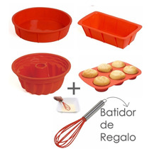 Set Reposteria Silicona Molde Flan+muffin+budin+torta*denda*