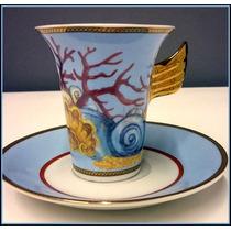 Duo De Taza Y Plato Porcelana Versace Usado Impecable