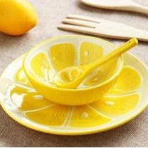 Juego Cuenco Tazón Cerámica- Taza-plato-cuchara-forma Limon