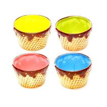 Bowls Cucurucho Anchos Varios Colores Set X 4 Unidades
