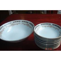 Juego De 10 Compoteras Y Bowl Porcelana Tsuji Impecable