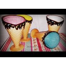 Copa Cucurucho Helado Cerámica- Varios Colores