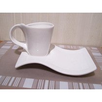 Taza C/ Plato Desayunador Blanco - Fabrica Directo-